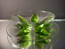 Scarce Lalique Art Glass 2 PC Green Lotus Leaves Etched Mayonnaise Set France