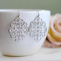 Women Earrings Wedding Jewelry silver Gold Dangle Filigree Earring Jewlry