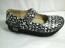 ALEGRIA PG Lite Mary Jane Black & White Tribal Print Clogs shoes~Size 5 girls