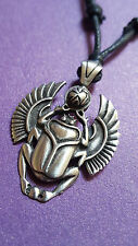 Winged Egyptian Scarab Beetle Pendant Necklace Adjustable Cord. Fine Pewter. f4