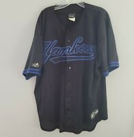 Rare Majestic New York Yankees Black Navy Blue Mesh Jersey Mens XL Sewn
