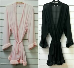Ladies Quality Sheer Chiffon Fur Trimming Dressing Gown Robe UK Sizes 10-20
