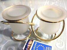 """PARTYLITE Pillarkerzen Teelichthalter """"Zwillinge"""" Hochzeitsdeko, vergoldet, Glas"""