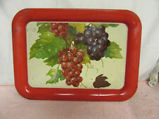 Vtg 1960's Tin Litho Metal TV Snack Serving Tray w/Grapes