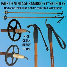 """PAIR OF 53"""" BAMBOO VINTAGE COLIN SKI POLES FOR CROSS COUNTRY & DOWN HILL SKING"""