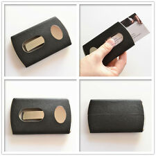Business Card Holder Stainless Steel Leather Case Cards Holders Black Cover New