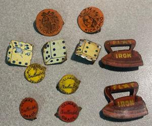 Metal Tobacco Tag lot of (11), Flat Iron, Kickapoo, Dice