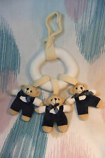 Children Soft Plush 3 Bears in Hanging Ring with a soft Rattle! Cot Pram Decor!