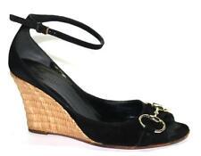 GUCCI Signature HORSEBIT Black Leather/Suede Raffia Wedge Ankle Shoe 6B 6.5 36B