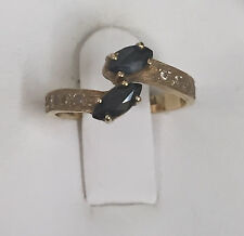 VINTAGE 18K GOLD DIAMOND BLUE SAPPHIRE RING SIGNED ELIOR OR ELION SIZE 4 1/2
