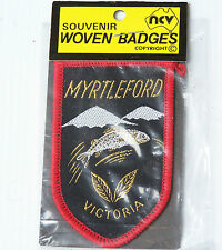 VINTAGE MYRTLEFORD VICTORIA EMBROIDERED SOUVENIR PATCH WOVEN CLOTH SEW-ON BADGE