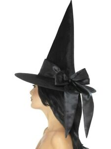 Deluxe Witch Hat, Black with Black Bow