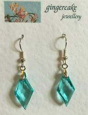 FACETED DEEP TURQUOISE DIAMOND SHAPED ACRYLIC SILVER PLATED DROP EARRINGS hook