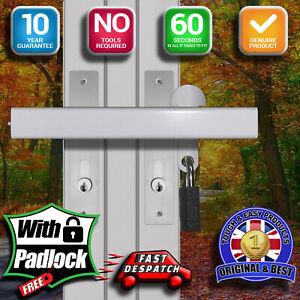 Patio French Conservatory Double Door Dead Lock Extra Security Padlock Steel Bar