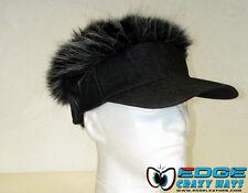 Crazy fun hairy hats / visors fake hair Black visor Gray hair