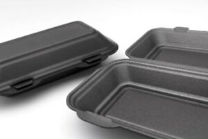 100 x BLACK Polystyrene Disposable Takeaway Food Container Box HP3 HB10 TT10