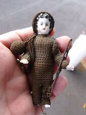 UNUSUAL FULLY CLOTHED VICTORIAN / EDWARDIAN BISQUE DOLL WITH ACCESSORIES