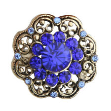 U1E1 Vintage Flower Rhinestone Brooch Pin Small 2cm Blue BT