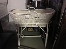 VINTAGE WHITE BAMBOO CANE & SPLIT CANE WEAVED BABY MOSES BASSINET on STAND