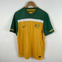 Nike Socceroos Australian Football Jersey Mens Large Green Yellow Short Sleeve