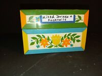 Vtg Metal Recipe Box Syndicate Mfg Retro Yellow&Blue TulipFlower70s Cocktails