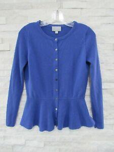 Pure Collection Cornflower 100% Cashmere Ribbed Peplum Cardigan Sweater US 6