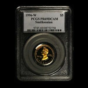 1996-W $5 Smithsonian Commemorative Gold Coin PCGS PR69DCAM Toned - Free Ship US