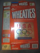 GENERAL MILLS 18 OZ EMPTY  WHEATIES CEREAL BOX W/ THE 1996 US OLYMPIC TEAM
