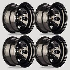 """Set 4 16"""" Vision 85 Soft 8 Gloss Black Steel Wheel 16x8 6x5.5 6 Lug Chevy Trucks"""