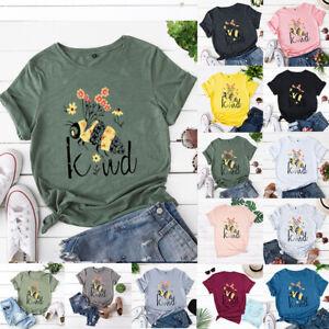 Women Bee Kind Print Blouse T Shirt Tee Top Summer Short Sleeve Plus Size Casual