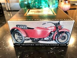 Harley-Davidson 1933 Motorcycle Side Car Red Diecast 1/12 Scale Bank in Box HBTT