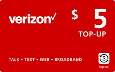 VERIZON WIRELESS  Prepaid $5 Refill Top-Up Prepaid Card , AIR TIME  RECHARGE