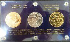1976 Colorado Centennial Commemorative Medals 3-Coin Set LE - Set No. 807