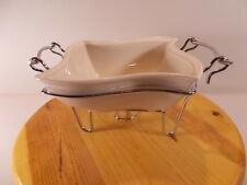"""Sienna by Godinger White Ceramic Chafing Dish & Metal Heating Candle Stand 7.5"""""""