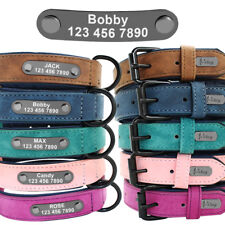 Soft Personalised Engraved Leather Dog Collar ID for Small Medium Large Dogs
