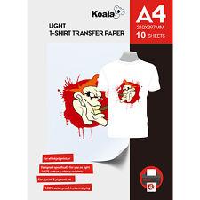 More details for koala inkjet iron on t shirt transfer paper for light fabrics x 10 sheets, a4
