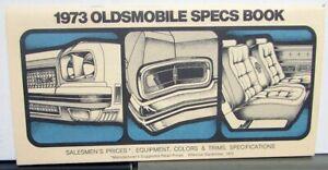 1973 Oldsmobile Spec Book Salesmens Prices Equipment Color Trim Original