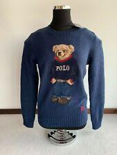 Ralph Lauren Donna TG S Maglia in cotone e lino Polo bear colore blu orsetto