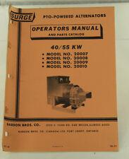 Vintage SURGE 40kw 55kw PTO Powered Alternator Operators Manual & Parts Catalog