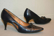 6.5 AA NAVY BLUE LEATHER POINTED TOE VTG 50s CUT-OUT BOW SPIKE HIGH HEEL Shoe