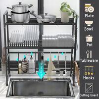 2 Tier Over Sink Dish Drying Rack Drainer Shelf Stainless Steel Kitchen Utensils