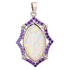 "NEW ! White Fire Opal & Amethyst Women Jewelry Gems Silver Pendant 1 1/4"" OD5492"