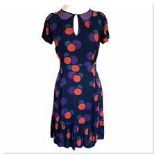 Marc by Marc Jacobs Navy Polka Dot Ruffled 100%  Silk Dress Womens Size 6