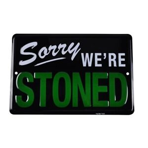 Stoned Man Cave Metal Tin Signs Weed Wall Plaque Cannabis Marijuana Pothead Room