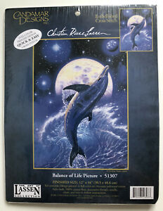 Candamar Christian Riese Lassen Dolphin Embellished Cross Stitch 51307 12x16in
