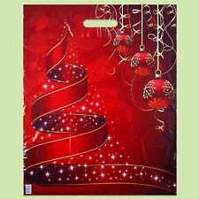 Pack of 50 ECO Christmas Printed Red Plastic Gift Carrier Bags 40x50 cm