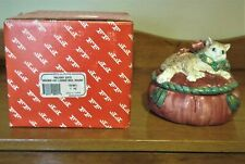 """Fitz & Floyd Holiday Cats """"Brown Cats Lidded Box"""" Pristine In Box"""