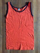 Vintage 80s Artex Tank Top T Shirt Surf Beach Blank Plain Ringer Orange Unworn S