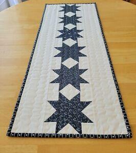 Handmade quilted table runner/blue/stars