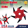6 Steel Blades Razors 65Mn Lawn Mower Grass Eater Trimmer Head Brush Cutter Tool